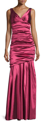 Theia Sleeveless Ruched Mermaid Gown, Magenta $1,295 thestylecure.com