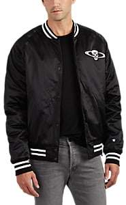 RtA MEN'S APPLIQUÉD SATIN BOMBER JACKET - BLACK SIZE S