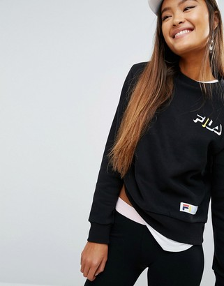 Fila Relaxed Boyfriend Sweatshirt With Chest Logo $76 thestylecure.com