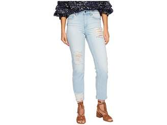 1 STATE 1.STATE Five-Pocket Straight Leg Jeans with Rips in Corsica Wash Women's Jeans