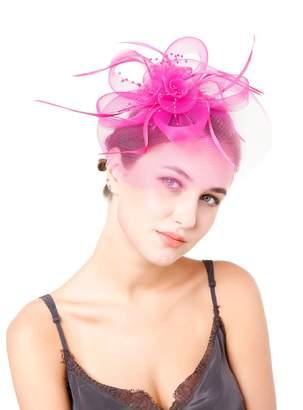 Belyee Fascinators Hat Flower Feathers Tea Party Wedding Headwear for Girls