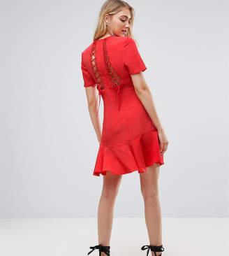 Asos Tall TALL Lace Up Back Tea mini dress