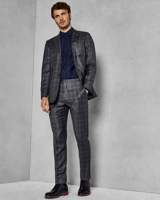 Ted Baker CHUCKT Slim fit checked wool trousers