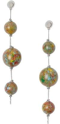 Burberry Marbled Resin Palladium-plated Drop Earrings