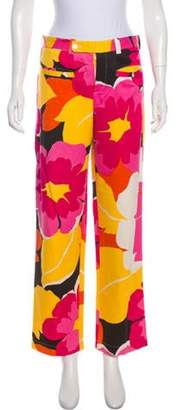 Gucci Mid-Rise Floral Print Pants Magenta Mid-Rise Floral Print Pants