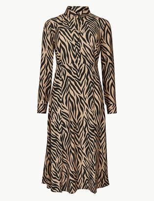 Marks and Spencer Animal Print Long Sleeve Shirt Midi Dress