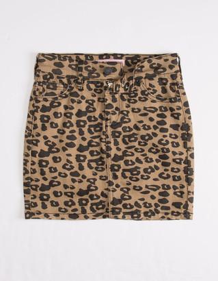 Almost Famous Leopard Girls Denim Skirt
