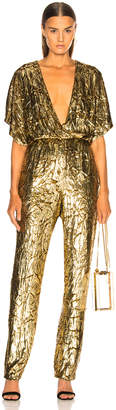 Sally Lapointe Silk Velvet Pleated Jumpsuit in Gold | FWRD