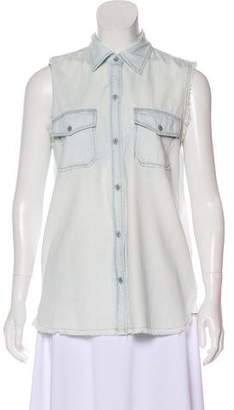 Current/Elliott Denim Sleeveless Button-Up Top