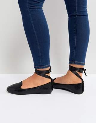 Raid RAID Black Ankle Tie Flat Shoes