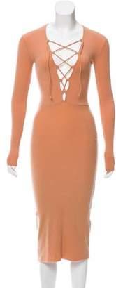 Reformation Rib Knit Long Sleeve Dress