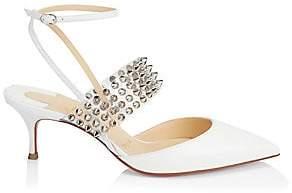 Christian Louboutin Women's Levita Studded PVC & Leather Ankle-Strap Pumps