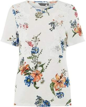 Dorothy Perkins Womens **Tall White Floral Print Vertical Lace T-Shirt