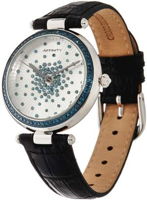 Affinity Diamond Jewelry Colored Diamond Scattered Design Leather Strap Watch 1.00 cttw