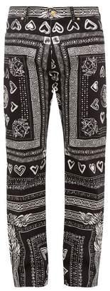 Versace Heart And Greca Print Cotton Blend Jeans - Mens - Black