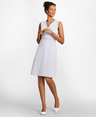 Brooks Brothers Striped Stretch Cotton Seersucker Dress
