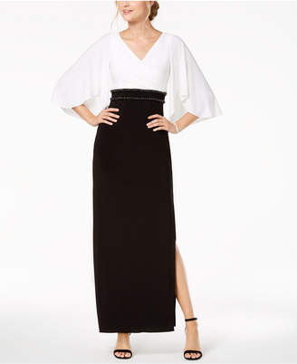 Adrianna Papell Embellished Colorblocked Gown
