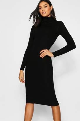 boohoo Rib Knit Roll Neck Midi Dress