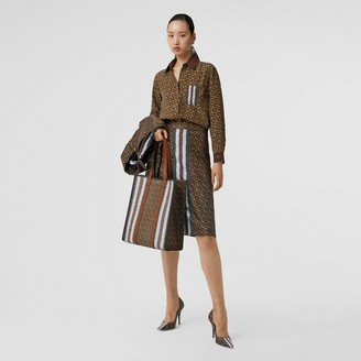 Burberry Monogram Stripe Print Silk Skirt