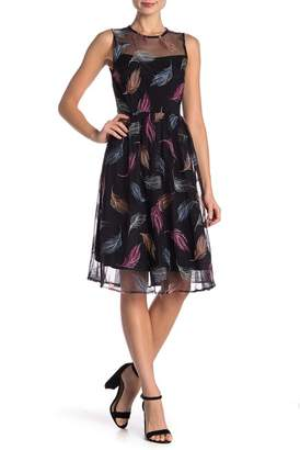 Modern American Designer Feather Embroidery Fit & Flare Dress