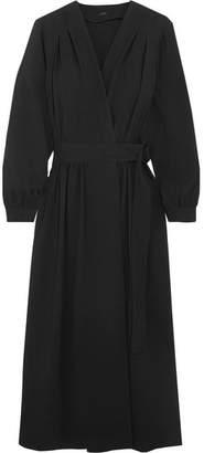 Joseph Mati Crepe Wrap Midi Dress - Black