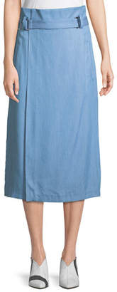 Tibi Chambray Draped Wrap Skirt