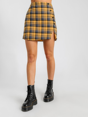 Beyond Her Yearn Check Skirt in Yellow