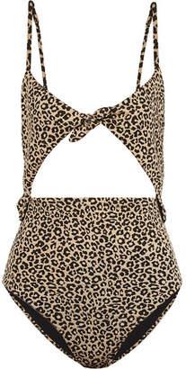 Mara Hoffman Kia Cutout Jacquard-knit Swimsuit - Leopard print