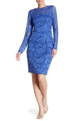 Marina Glitter Accent Sequin Lace Dress
