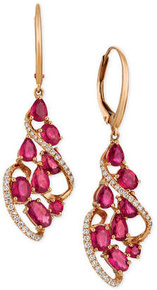 LeVian Le Vian® Certified PassionTM Ruby (3-1/3 ct. t.w.) & Diamond (1/3 ct. t.w.) Drop Earrings in 14k Rose Gold
