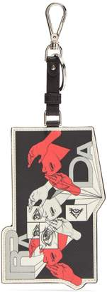 Prada Comic-strip leather key ring