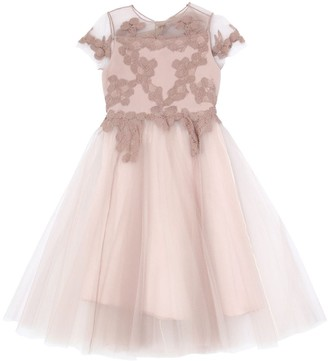 Embroidered Crepe De Chine Stretch Tulle
