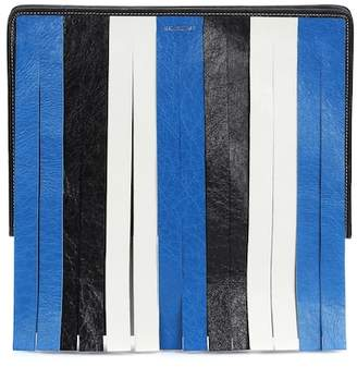Balenciaga Bazar fringed leather clutch