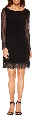 Tiana B Long Sleeve Lace Trim Sheath Dress-Petites