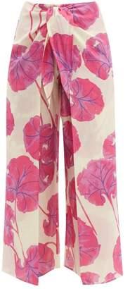 Diane von Furstenberg Kimono Leaf Print Cotton Blend Culottes - Womens - Pink Multi