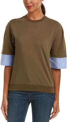 Derek Lam 10 Crosby Denim Mixed Media Sweater