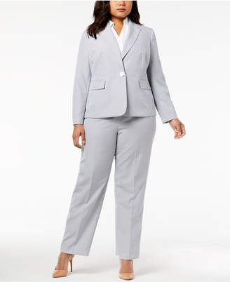 Le Suit Plus Size Seersucker Pantsuit