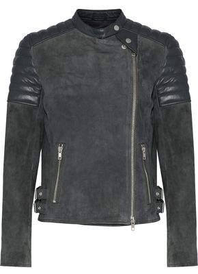 Muu Baa Muubaa Quilted Leather-Paneled Suede Biker Jacket