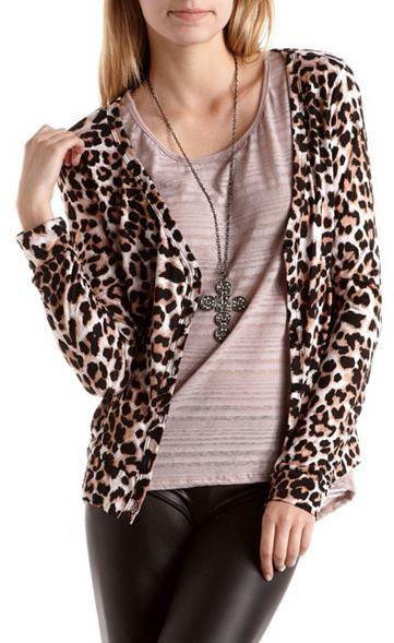 Charlotte Russe Chiffon Back Leopard Cardigan
