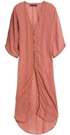 Open Knit-Trimmed Cotton-Gauze Kaftan
