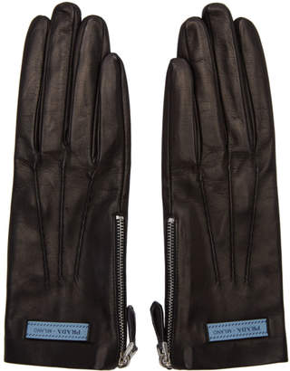 Prada Black Leather Label Gloves