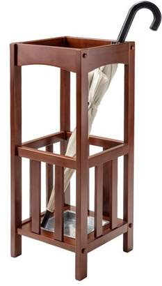 Winsome Wood Rex Umbrella Stand with Metal Tray, Walnut Finish