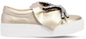 Embellished Faux Leather Sneakers