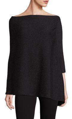 Eileen Fisher Merino Wool Rib-Knit Poncho $228 thestylecure.com