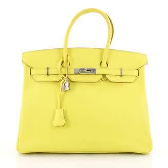 Hermes Birkin 35 Yellow Leather Handbag