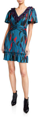Three floor Sorrento Printed V-Neck Short-Sleeve Ruffle Dress