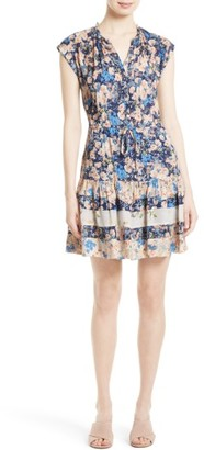 Women's Rebecca Taylor Gig Mix Floral Silk Dress $395 thestylecure.com