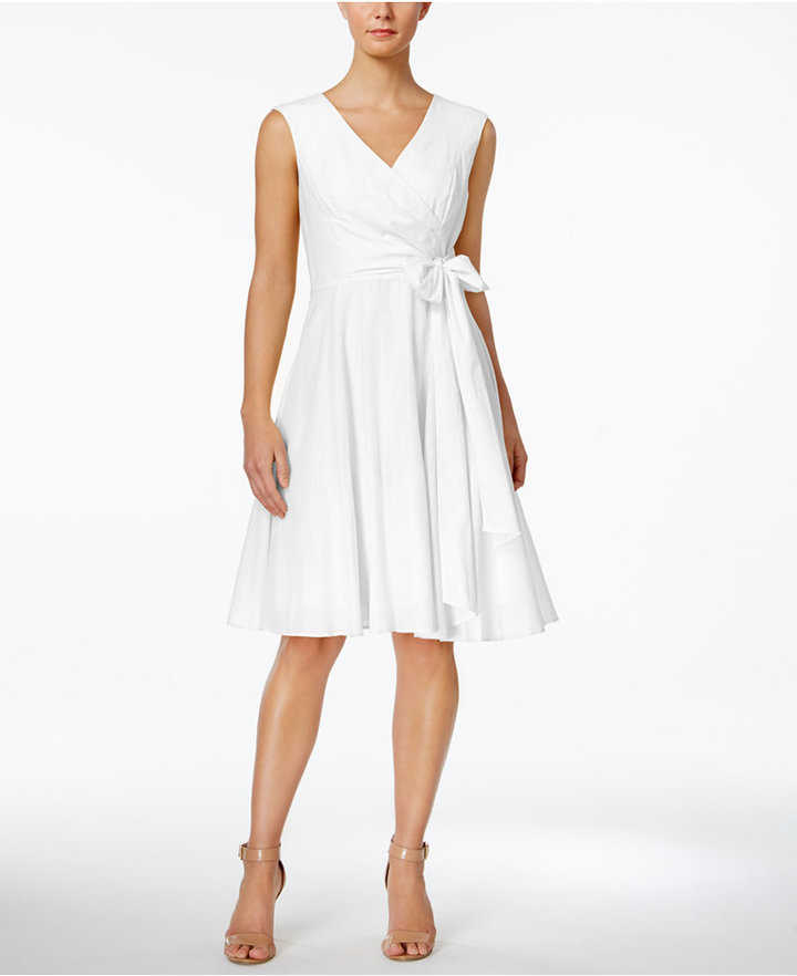 Calvin Klein Faux-Wrap Fit & Flare Dress