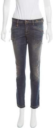 R 13 Biker Zip Low-Rise Jeans