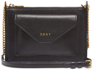 DKNY Alexa Top Zip Leather Crossbody